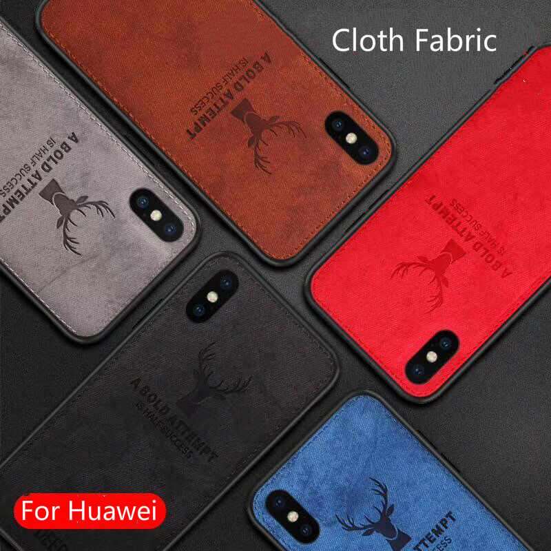 Hot Cloth Texture Deer 3D Soft TPU Magnetic Car Case For Huawei P20 Pro Built-in Magnet Plate Case For P30 P40 Pro Lite Cover