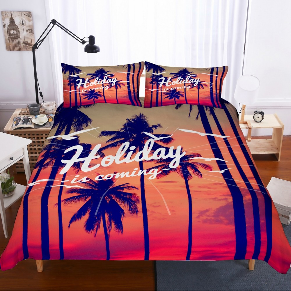 3D Print Seaside Holiday Bedding Set 2/3PCS Microfiber Bedspread Home Bedding Sets Throw Pillow Cover Queen King SizeBed Sets