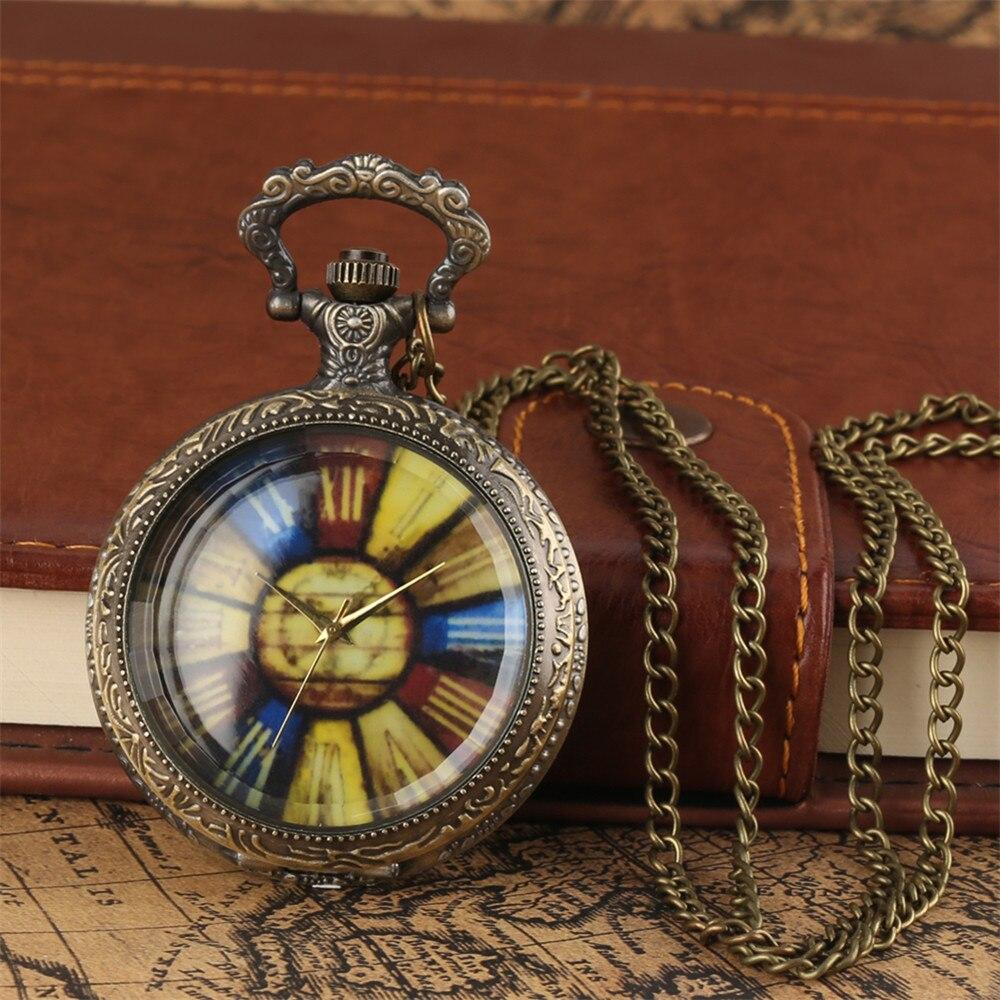 Steampunk Retro Transparent Glass Display Quartz Necklace Pocket Watch Bronze Sweater Chain Pendant Clock Vintage Gift Men Women