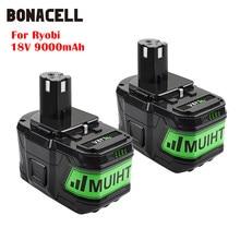 Bonacell 18V 9000Mah Li-Ion P 108 P108 Oplaadbare Batterij Voor Ryobi Batterij RB18L40 P2000 P310 Voor BIW180 L70