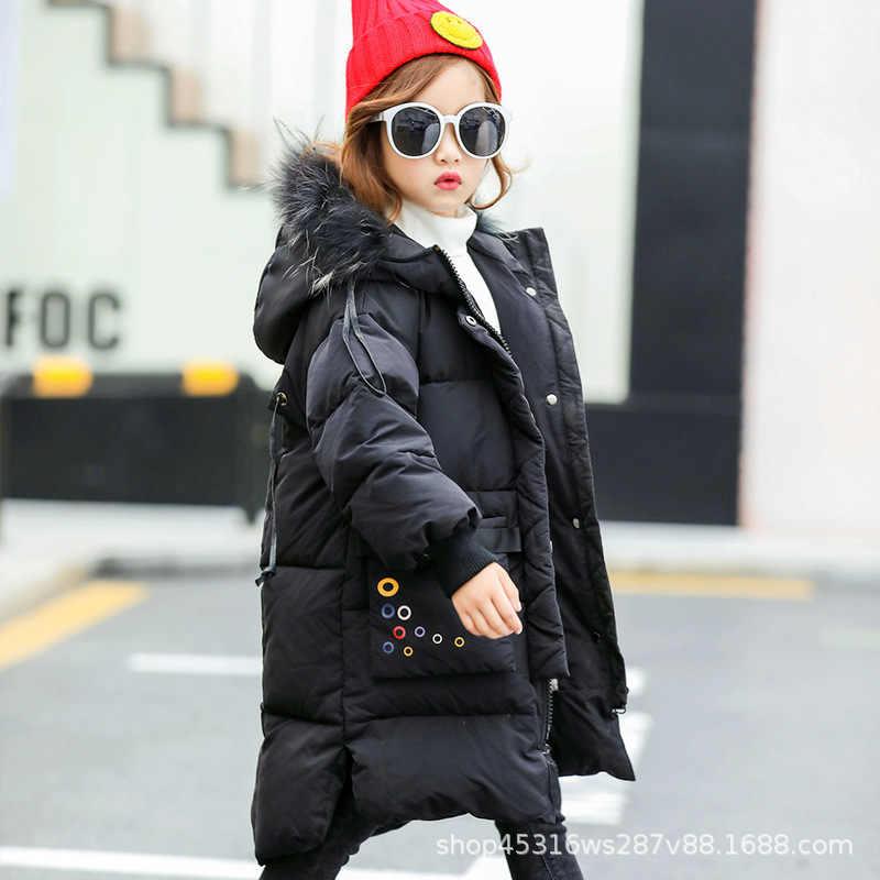 子供冬ジャケット新 2019 ファッション少女の冬のダウンコート子供暖かい厚手毛皮の襟フード付きコート十代 4-12Y
