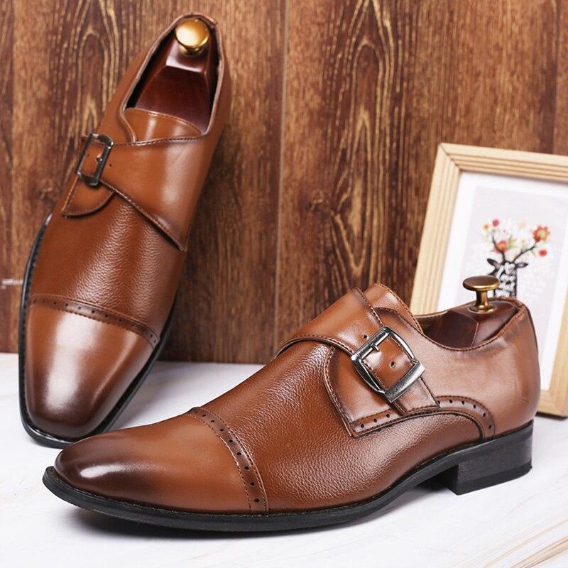 Merkmak Business Formal Leather Shoe Pointed Toe Dress Shoes Fashion Buckle Office Footwear Big Size Male Party Wedding Footwear