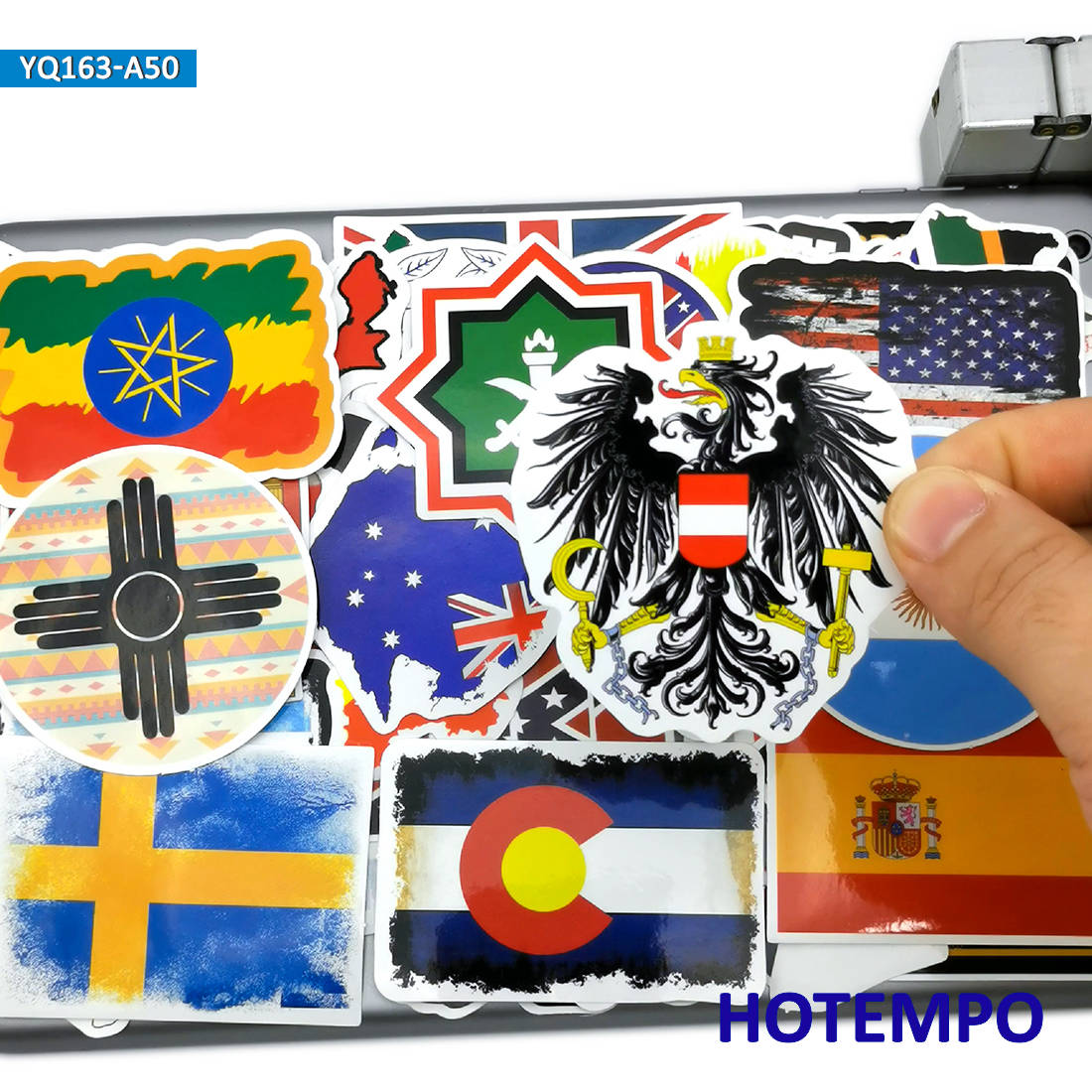 50pcs National Flags Travel Stickers Map Style Toys For Children Kids Mobile Phone Laptop Luggage Case Skateboard Bike Stickers
