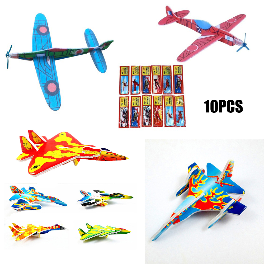 10Pcs NEW 3D DIY Hand Throw Flying Glider Planes Foam Aeroplane Party Bag Fillers Childrens Kids Gift Model Toys Game