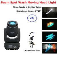 2XLot Neueste 200W LED Moving Head Lichter Strahl Spot Waschen 3IN1 LED Bühne Lichter Perfekt Für Dj Disco lichter Club Party Zeigen luces