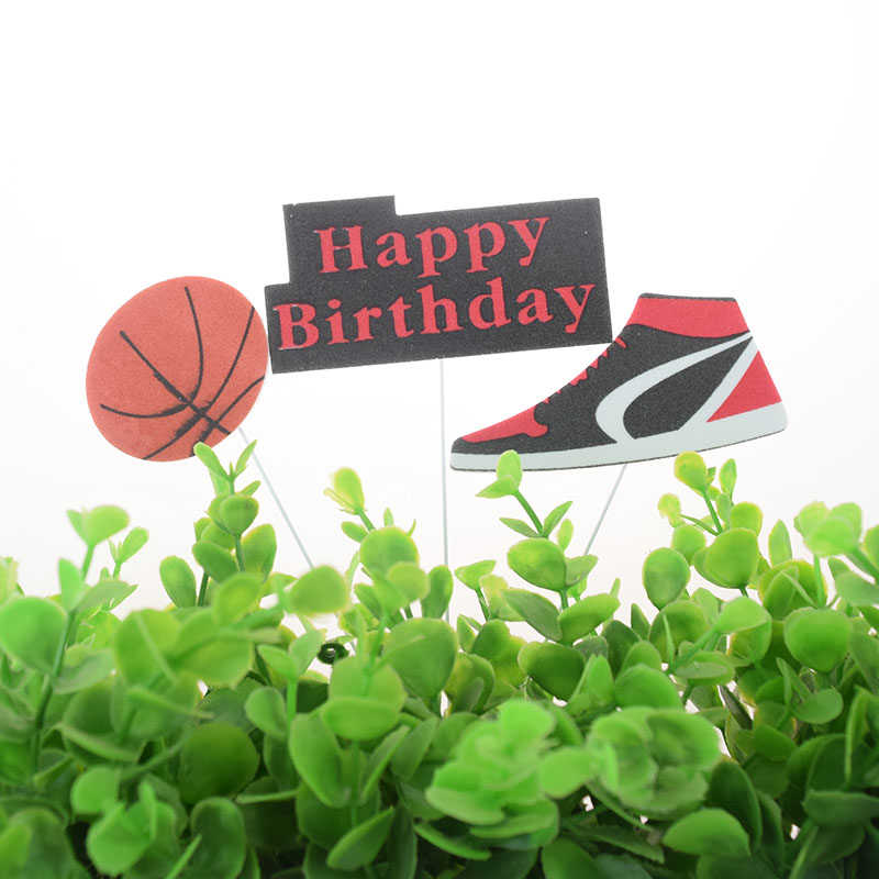 3pcs/set Cake Topper Basketball Sports Shoes DIY Cake Cupcake Toppers Boys Men Happy Birthday Party Wedding Dessert Decor Flags-1