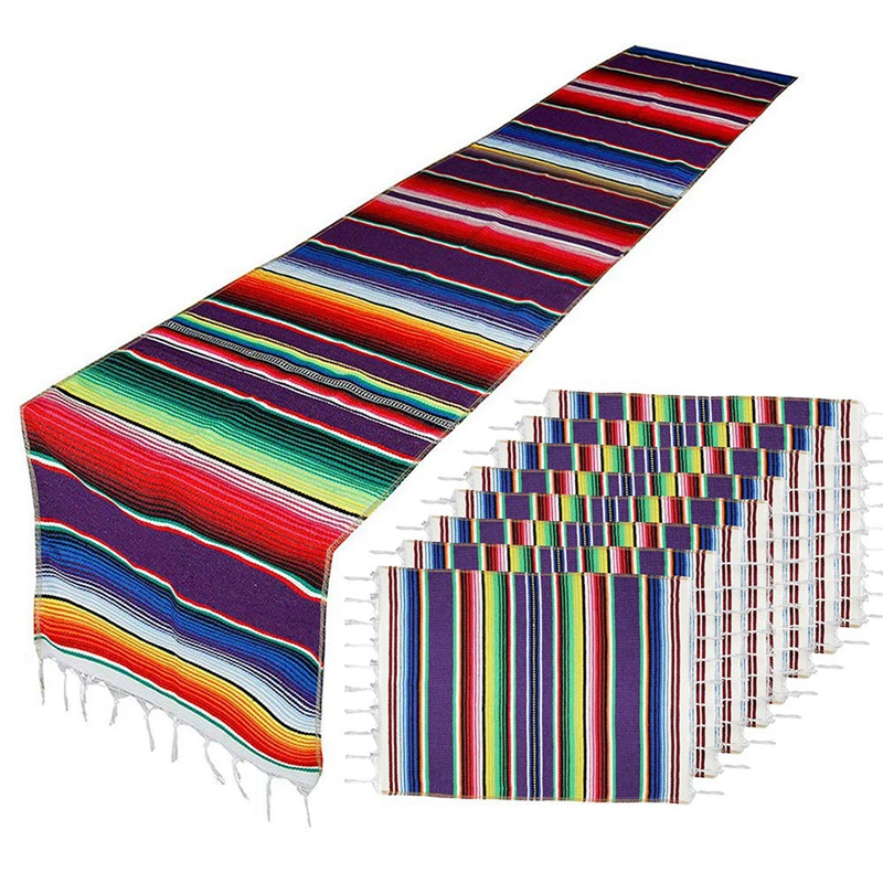 Mexican Table Runner With Place Mats,Mexican Assorted Place Mats Mexican Party Wedding Decorations, Fringe Blanket Table Runner