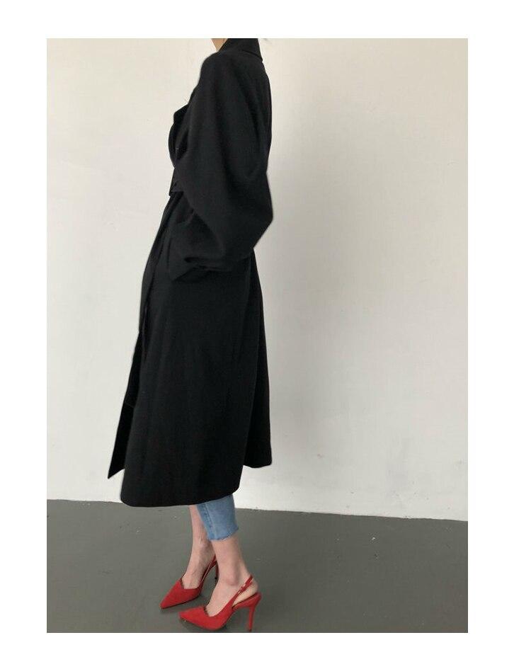 Windbreaker Women Trench Coat Belt Waist 19 Autumn Double Breated Oversize Long Coat Lady Streetwear Korean Outwear 10