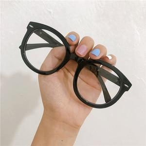 iboode 2019 Fashion Black Round Eyewear Frame Women Retro Big Optical Glasses Frame for Myopia Women Men Clear Lens Spectacles