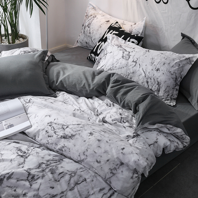 Luxury Bedding Set Duvet Cover Sets Marble printing King Size Single Queen Black Comforter Bed Linens 2/3pcs