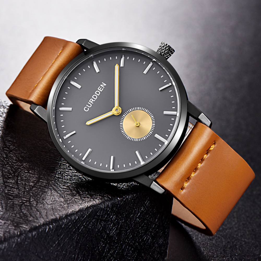 Man Watch Fashion Simple Leather Band Analog Quartz Round Waterproof Wrist Business relojes hombre Mens Watches horloge heren