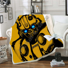 Criança autobots transformação robô 3d cobertor flanela velo cobertor bumblebee impressão crianças dos desenhos animados do bebê quente cama lance cobertor