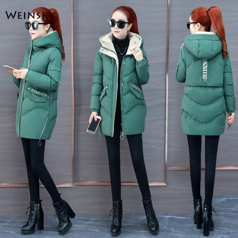 2019 New Fashion Women Winter Hooded Coat Long Slim Warm Jacket Down Cotton Padded Jacket Outwear   Parkas