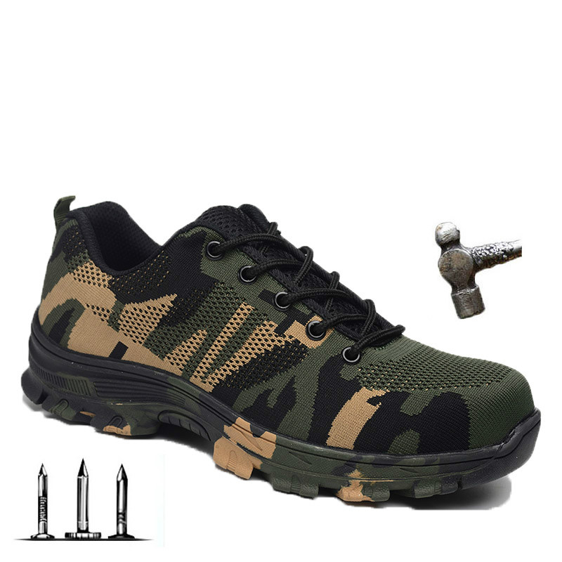 EXCARGO Safe Steel Toecap Men Work Safety Boots Camouflage Steel Mid Sole Impact Resistant Women Shoes