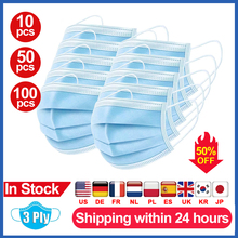Fast delivery Hot Sale 3-layer mask Face Mouth Masks Non Woven Disposable Anti-Dust Meltblown cloth Masks Care Elastic Earloop