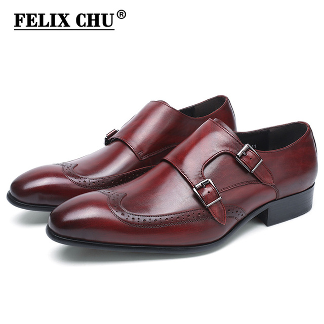 FELIX CHU High Quality Genuine Leather Men Formal Shoes Party Pointed Toe Dressy Wedding Burgundy Black Monk Strap Dress Shoes
