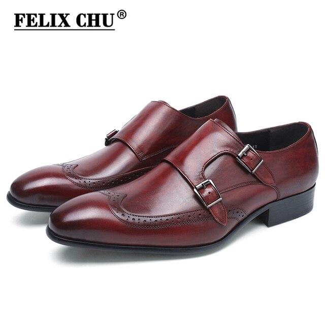 FELIX CHU yüksek kalite hakiki deri erkek resmi ayakkabı parti sivri burun şık düğün bordo siyah keşiş kemerli elbise ayakkabı