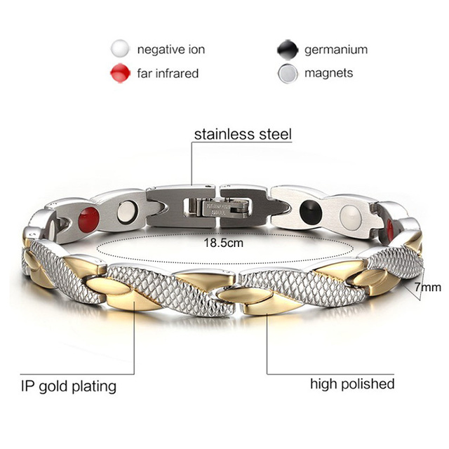 Twisted Power Therapy Magnetic 4 in 1 Health Care Elements 316L Stainless Steel Bracelets & Bangles for Women Accessories