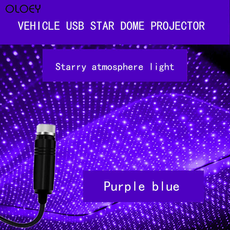 Auto Dak Ster Licht Interieur Mini Led Starry Laser Sfeer Ambient Projector Lichten Usb Rode Auto Decoratie Night Galaxy Lamp
