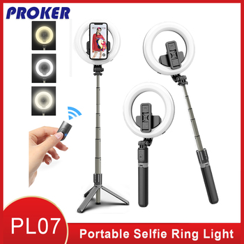 Proker Portable Selfie Ring LED 5 inch with tripod and Phone Holder Built-in Battery Led Lamp to make Tripod Stand for Makeup