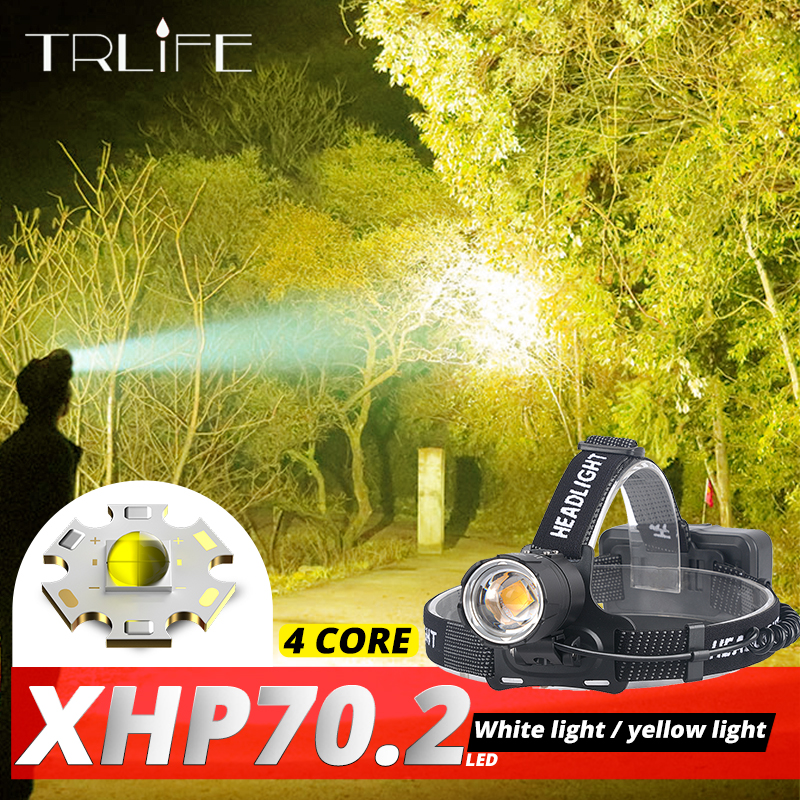 100000LM XHP70.2 LED Headlamp XHP70 Most Powerful Yellow White LED Headlight Fishing Camping ZOOM Torch Use 3*18650 Batteries