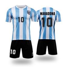 Crianças conjuntos de uniformes esportivos meninos e meninas esportes argentina 1986 maradona crianças camisas + shorts ternos treinamento em branco conjunto personalizado