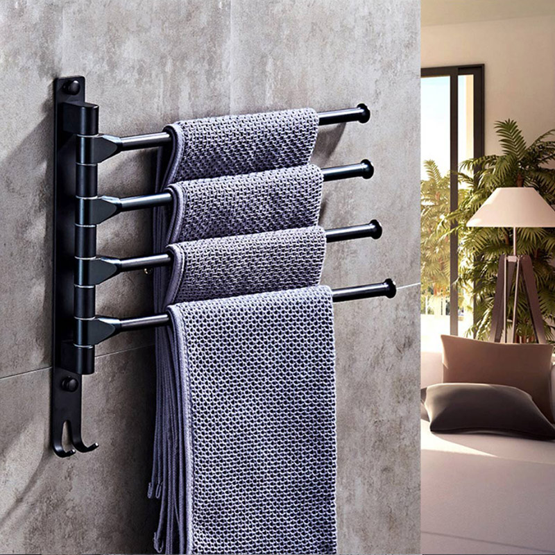 Anti-rust Stainless Stainless Steel Rotating Towel Rack Bath Rail Hanger Towel Holder 4 Swivel Bars Bathroom Wall Mount RT99