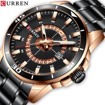 CURREN-Relojes de pulsera para hombre, de cuarzo, de acero inoxidable