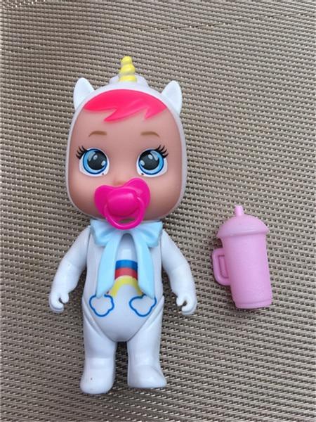 12cm Weinen Baby Puppe Mit Schnuller Flasche Für Kinder Tränen Puppen DIY Spielzeug Cry Puppe Kinder Geburtstag Weihnachten Geschenke