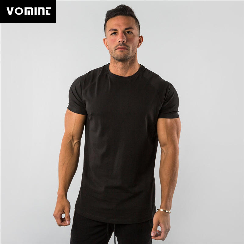 Men's T-Shirt Active Fitness Sports Short-Sleeved Cotton Summer Solid Elasticity Large-Size