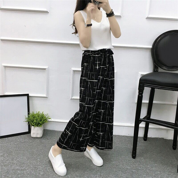 Hot Womens   Wide     Leg   High Waist Casual Summer Thin   Pants   Loose Culottes Trousers IE998