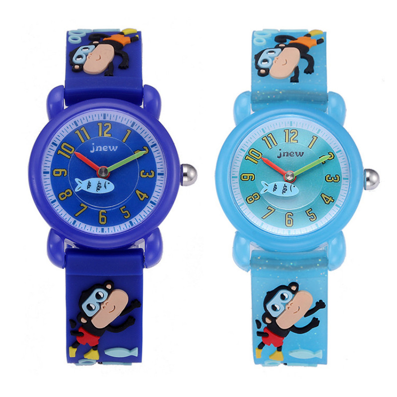 Kid Clock 3D Silicone Cartoon Children Watch Cute Waterproof Monkey Quartz Watch Boy Kid Blue Learn Time Tool