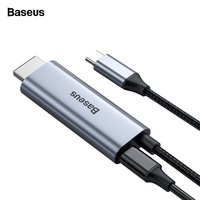 Baseus USB C HDMI Cable Type C to HDMI Thunderbolt 3 for MacBook Samsung S10 Xiaomi mi 9 Huawei P20 Pro USB C PD 4K HDMI Adapter