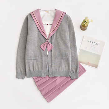 Japanese School Uniforms Embroidery JK Suits Pink Skirts Girl\'s Dresses Female Sailor Costumes Gray Cardigans Dress for Women