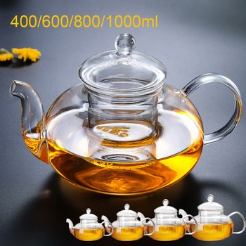 400/600/800/1000ml Heat Resistant Glass Flower Tea Pot Practical Clear Tea Kettle With Infuser Tea Leaf Herbal Coffee Pot chinaguangdong bear ysh b18t1 glass health coffee pot 1 5l household multifunction electric water kettle tea pot 220 230 240v