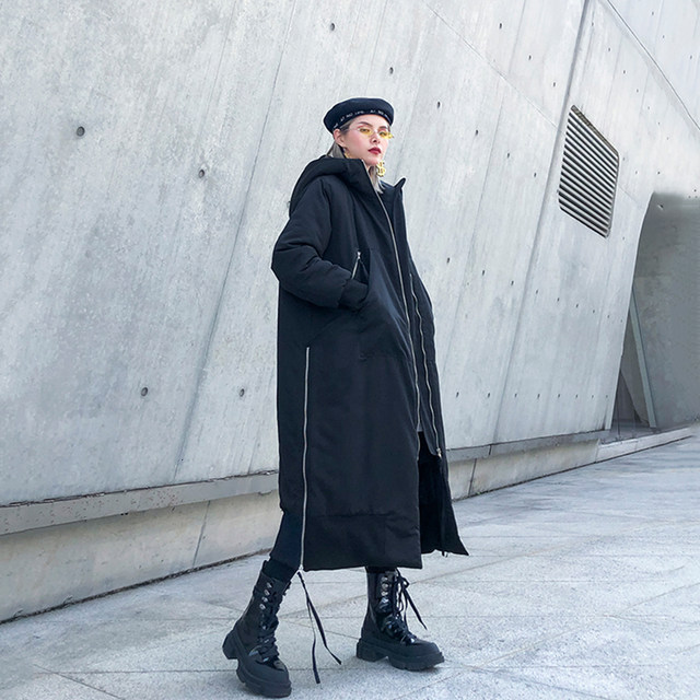 [EAM] Black Big Size Hooded Cotton-padded Coat Long Sleeve Loose Fit Women Parkas Fashion Tide New Autumn Winter 2019 1H886 27