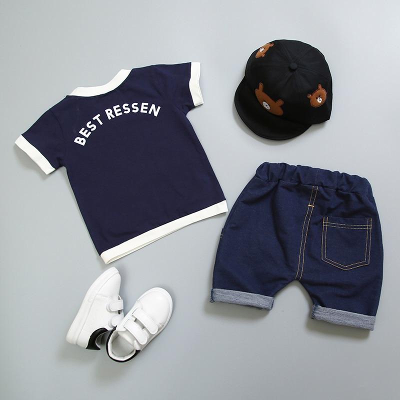 New Hot Suit Summer Children Boys Girls Clothes Sets Kids Cotton Letter Short Sleeves T-Shirt 2PCS/set Toddler Child Clothing