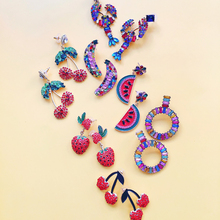 Ztech Fruits Animal Earrings for Women Crystal Large Drop Boho Fringed Tassel Hanging Bridal Statement Jewelry