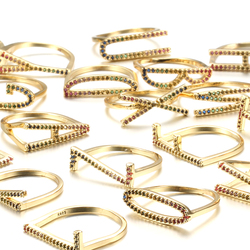 Kinel moda A-Z list pierścień tęczy złoto kolorowe do DIY nazwa inicjały alfabet kobiety Party CZ cyrkon pierścień biżuteria Boho