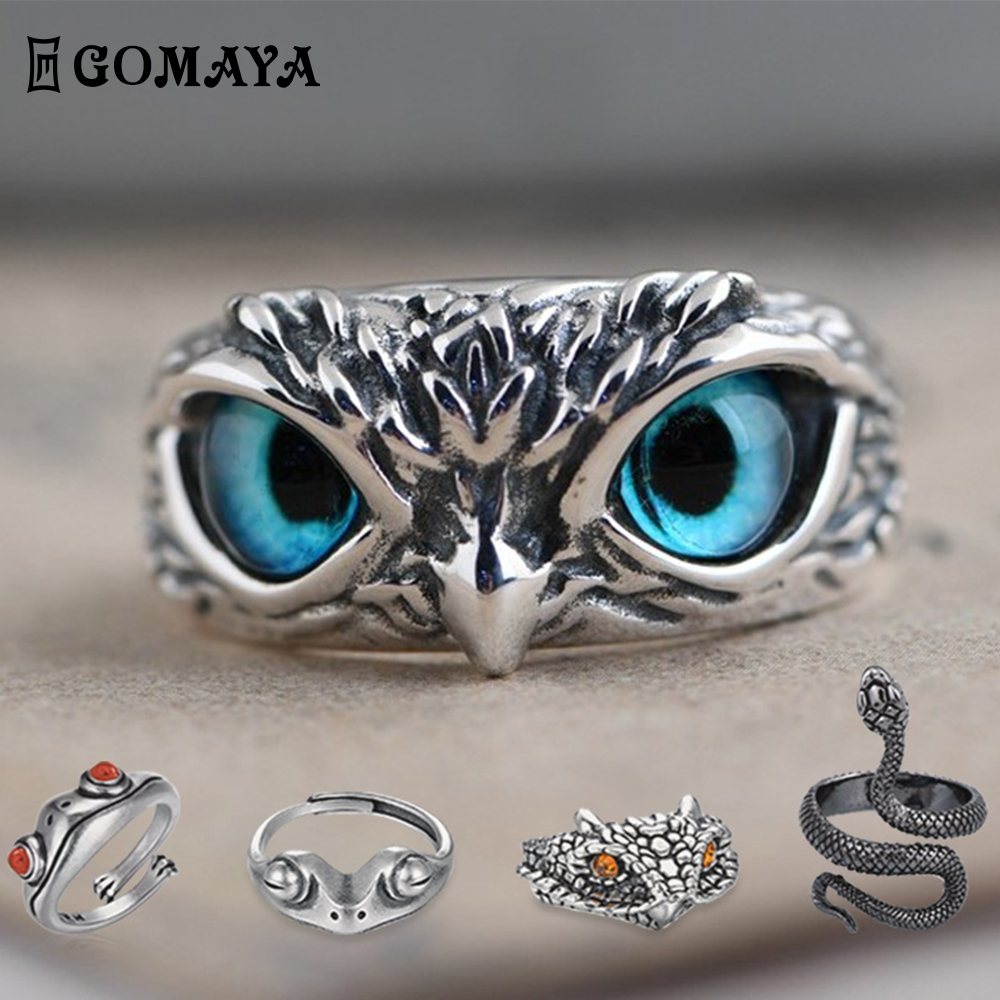 New Vintage Punk Personality Rings For Men And Women Resizable Simple Animal Jewelry Ring Gift Fashion Jewelry Rings Accessories