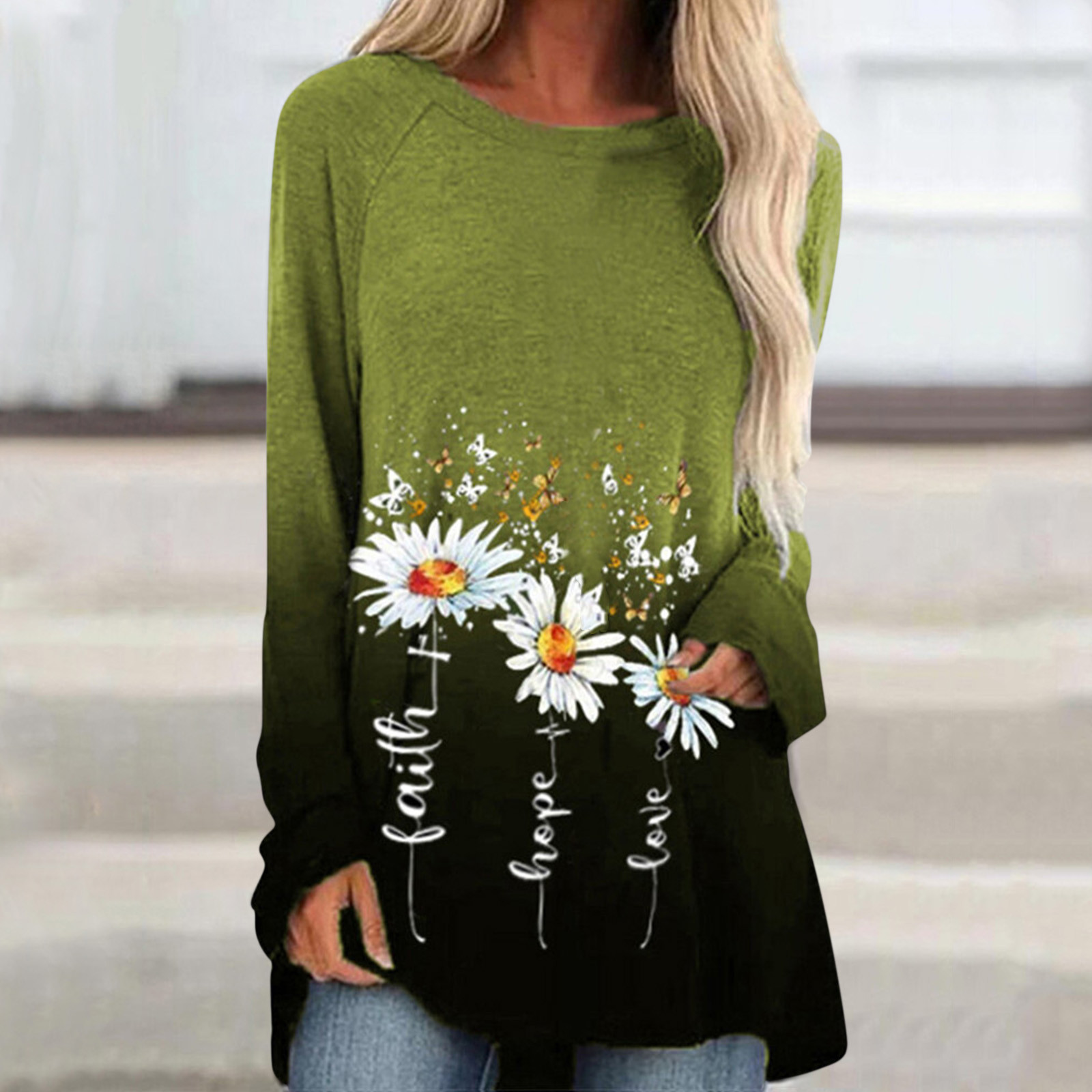 40# Long Shirts Women Fashion Print O Neck Long Sleeve Womens Tops And Blouses Casual Loose Pullover Tops Tunics Blusas