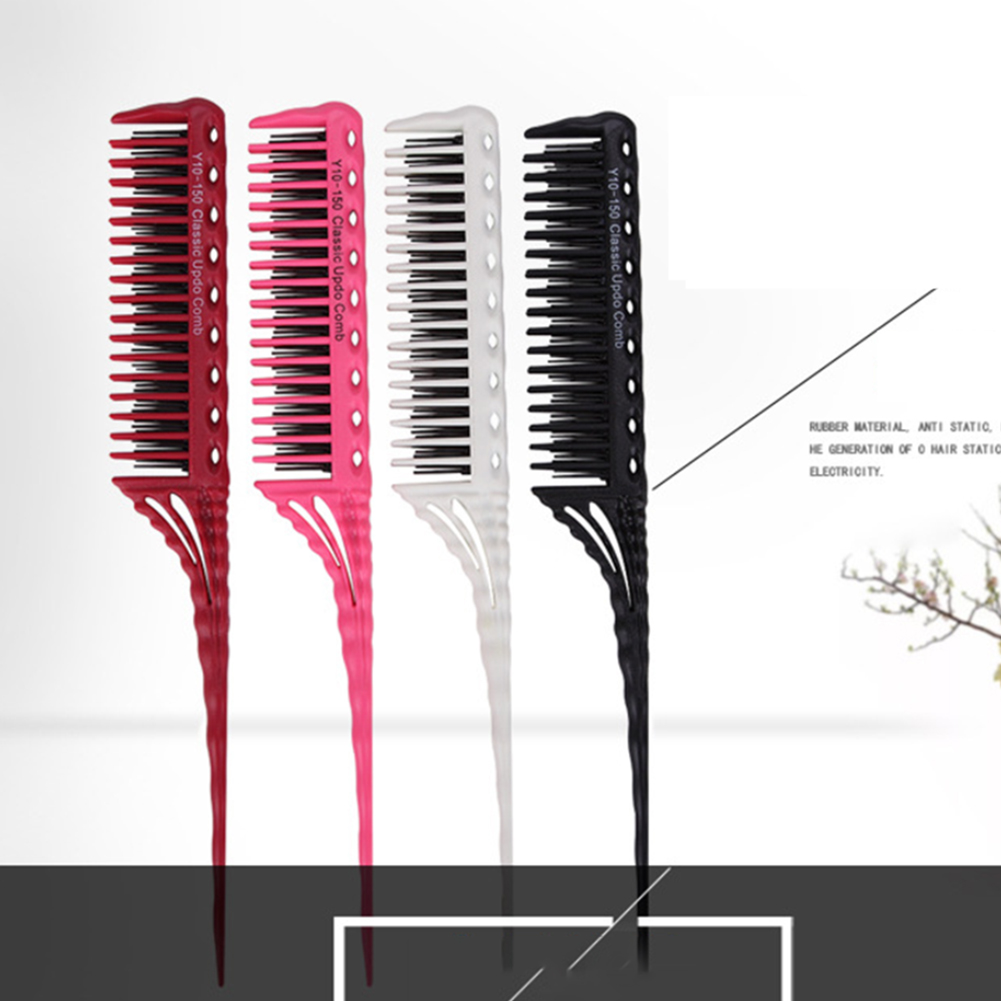 Hair Comb Backcombing Detangling Rat Tail Styling Travel Hairdressing Anti Static Teasing 3-Row Teeth Tool Gift Heat Resistance