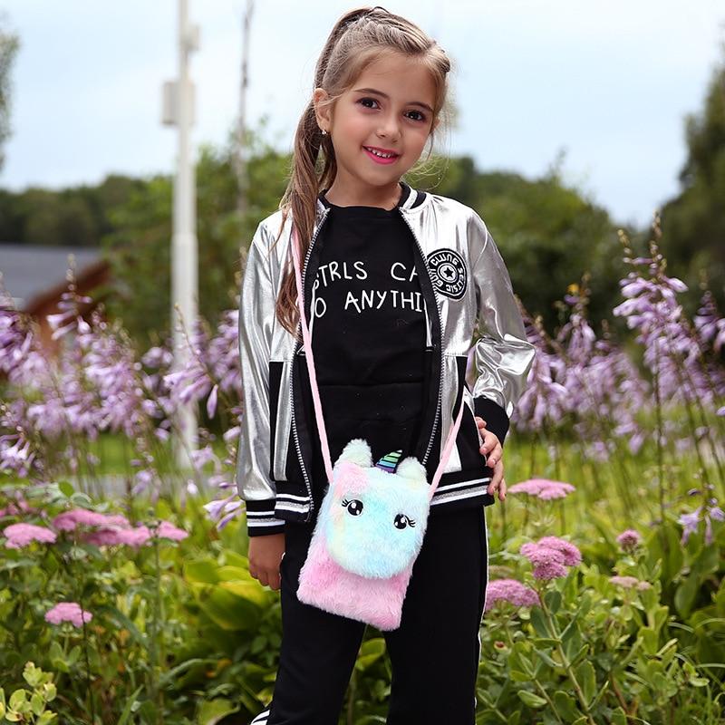 New Cute Plush Cartoon Coin Purse Unicorn Crossbody Bags For Girls Mini Handbag Baby Messenger Bag Women Phone Pouch Kids Gifts