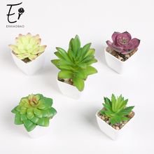 Erxiaobao 4 Pieces / Set Cute Artificial Succulents Flowers Simulation Mini Bonsai with Pot Fake Plants Room Decoration