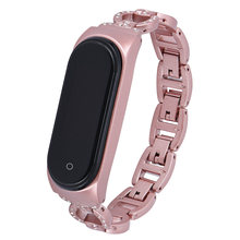 Bracelet de luxe en diamant pour femmes et filles, pour Xiaomi Mi Band 5 4, lien en métal, accessoires de poignet réglables