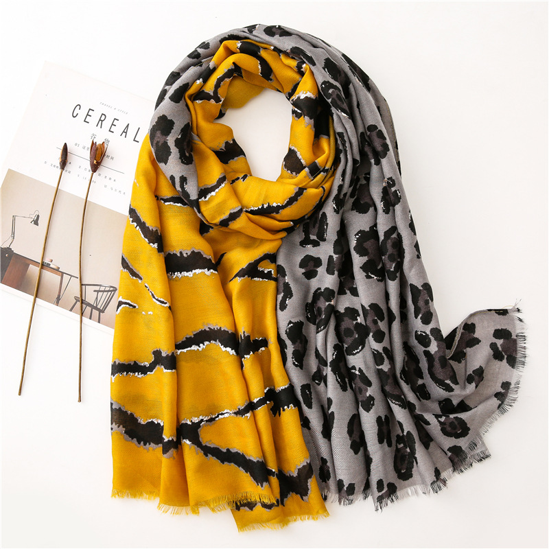 Fashion Lurex Glitter Leopard Patchwork Viscose Shawl Scarf Women High Quality Winter Wrap Pashmina Stole Bufandas Muslim Hijab