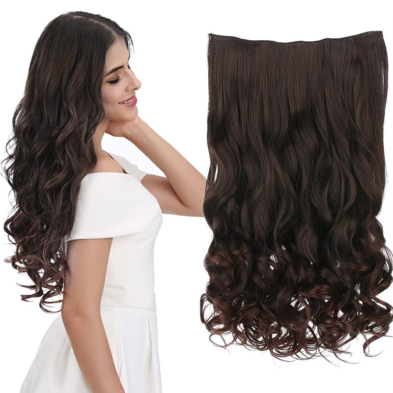 Lelinta 5 Clip In Hair Extensions Full Head One Piece Hairpiece Wavy Heat-Resisting