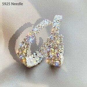 925 Sterling Silver Needle Hoop Earrings for Women Jewelry Round Colorful Rhinestone Crystal Female Elegant Earrings