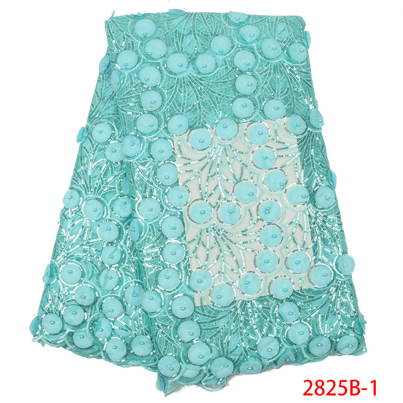 New Arrival Sequence Lace Fabric,3D Lace Fabric With Beads High Quality, French African Tulle Fabric Lace For Dresses KS2825B-1