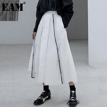 Big-Size EAM Skirt Spring Split-Joint Irregular Contrast-Color Women New-Fashion Tide